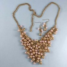 Gold Bead & Pearls NEW V Bib Chunky Statement Necklace Gold Plated, PROM, USA