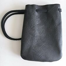 Leather Drawstring Pouch-Coin/Jewelry Bag-Medieval Reenactment Pouch-SM.Black