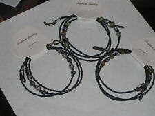 """3 Men's Handmade Eyeglass Chains~Black & Silver~Father's Day Gift~28""""~SHIP FREE"""