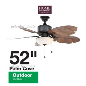 """NEW 52in HOME DECORATORS PALM COVE 52"""" CEILING FAN WITH LED LIGHT INDOOR OUTDOOR"""