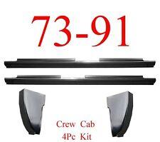 "73 91 Chevy 4Pc Crew Cab Slip-On Rocker & Cab Corner Kit 73"" Long, Truck"