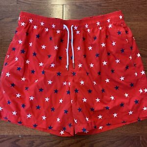 Southern Tide Men's Size Large Red White Blue Stars Swim Trunks Swimsuit