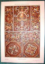 Stampa antica RINASCIMENTO GERMANIA mitologia decorazioni 1887 Old antique print