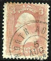 "Sc #65 ""AUG 5 1862"" Date Fancy Cancel SON 3 Cent Washington 1861 Civil War 12B83"