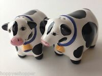Salt & Pepper Shakers Handcrafted Ceramic COWS BLACK WHITE COW Mint