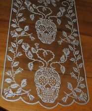 HERITAGE LACE SILVER & BLACK SKULL/ROSES TABLE  RUNNER 19X72ITEM A36