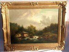 Großes Ölgemälde, Anton Bayer (1805 - 1884), Flusslandschaft mit Mühle