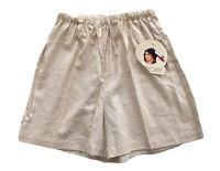 Cherokee Linen Blend Shorts Elastic Waist Draw Tie High Rise Beige Size M NWT