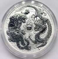 2018 Australian Dragon And Tiger 1 oz .9999 Silver Capsuled Very Limited BU Coin