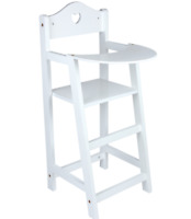 Doll's Wooden White High Chair Doll's Furniture Pretend Play Girls Kids