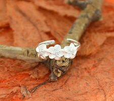 Plumeria CZ Adjustable Toe Ring-Sterling Silver-Knuckle,Hawaiian,Cute,Flower,CZ