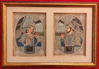 Hand Painted Shah Jahan and Mumtaz Miniature Painting India Artwork Framed