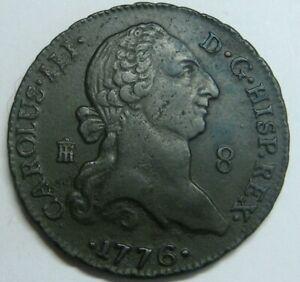1776 SEGOVIA 8 MARAVEDI CHARLES III BEAUTIFUL SPANISH COLONIAL COPPER SPAIN