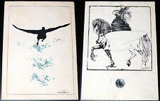 2 litografie d'epoca di NANI TEDESCHI su cartoncino 25x35 cm