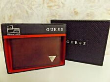 Guess Brown Leather Bi-Fold Wallet New