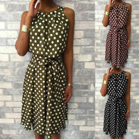 Women's Fashion Polka Dot Sleeveless Off Shoulder Casual Loose Knee-Length Dress