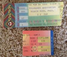 "(2) ""Zz Top"" Ticket Stubs @ Milwaukee Auditorium & Freedom Hall Ky - Free Ship"