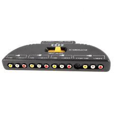 4-Way Audio Video AV RCA Switch Game Selector Box Splitter Black E7N1