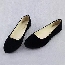 Womens Suede Flat Pumps Ladies Ballet Ballerina Dolly Shoes Bridal Work Shoes SZ