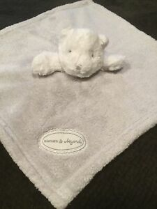 Blankets & Beyond Gray White Bear Plush Security Blanket Lovey