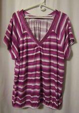 Lane Bryant Fun & Flirty Short Sleeve Stripe Blouse Women's 26/28 Plus