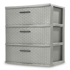 Storage Drawers, Woven Pattern in Plastic, Three Drawers, Color Choices