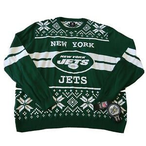 NEW NFL Team New York Jets Green White Light Up Ugly Christmas Sweater Size 3XL