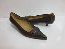 JIL SANDER Brown Leather Buckle Strap Pumps Shoes 39 MINT CONDITION