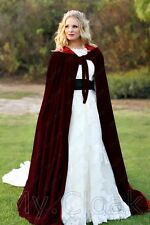 Burgundy Velvet Cloak Lined Red Wedding Cape Wicca LOTR Gandalf Star Wars S-6XL