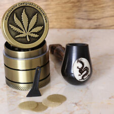 """Esquisite 4/"""" Hand Crafted Smoking Pipe Tobacco Fine Wood pot /& 3pc Herb Grinder"""