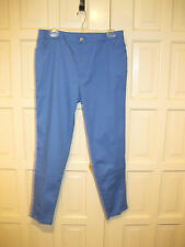 Soft Surroundings Sz 12 Cerulean Blue Beachy Keen Stretch Pants w Lace Insets