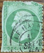 Sello Francia usado 1862, 5C VERDE, Yvert 20 Matasellos Le Havre