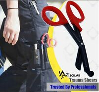 "RED Stealth Fluoride Black Coated BLADES Trauma Paramedic Shears Scissors 7.5"""