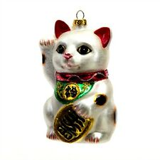 "LUCKY CAT GLASS CHRISTMAS ORNAMENT 4.25"" Maneki Neko Good Luck NEW Fortune Kitty"