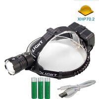 XHP70 LED Stirnlampe Taschenlampe Kopflamp Stirnleuchte Licht 18650 Kopf Fackel