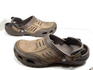Crocs Men's Yukon Mesa Espresso Leather Clogs Adjustable Heel Straps Size: 11