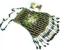 beaded velvet handbag Victorian Edwardian Vintage Downton style reticule NEW