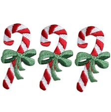 """Candy Cane Applique Patch - Christmas Treat, Bow 2.25"""" (3-Pack, Iron on)"""