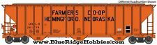 WALTHERS PROTO HO SCALE 1/87 55' EVANS 3-BAY HOPPR FARMERS COOP 26140 920-106133
