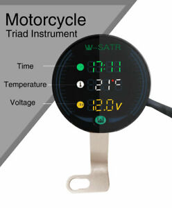 Motorcycle 3 in 1 Time/Temperature/Voltage LED Digital Voltmeter Thermometer