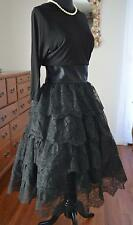 SENSATIONAL! Vtg 50s 5 Tier Lace Ruffle FULL Crinoline Skirt Party Dress! XS-S
