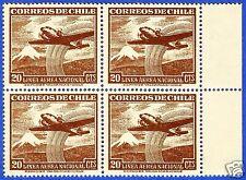 CHILE, AIRPLANE AND VOLCANO, BLOCK OF 4, MNH, 1951-55, NO WATERMARK