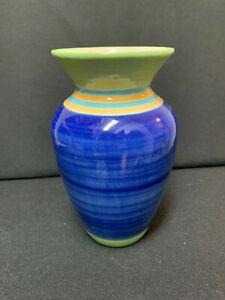 Blue & Green, Turquoise & Yellow Striped Ceramic Glazed Vase Vintage