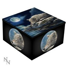 Wolf Quiet Relection Trinket Box w/ Mirror Wiccan Pagan Witch Home Decor 10121