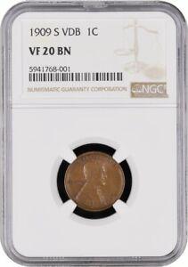 1909 S VDB Lincoln Penny NGC VF 20 BN 5941768-001