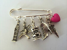 MARY POPPINS inspired Silver Tone Kilt Pin Brooch 5 charms Present in Gift Bag