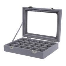 24 grid Display Box Jewelry Storage Glass Bracelet Watch pillow Buckle Grey E5J7
