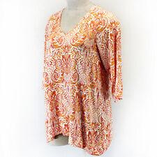 Jones NY Plus White/Orange Boho Print V-Neck 3/4 Sleeve Top 1X Spring Summer