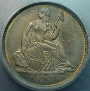 1837 No Stars , Lg Date Seated Liberty Dime ICG MS60 details ( album toning )