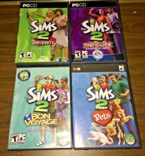 Sims 2 Lot of 4 Expansion Games (PC CD) University Nightlife Pets Bon Voyage
